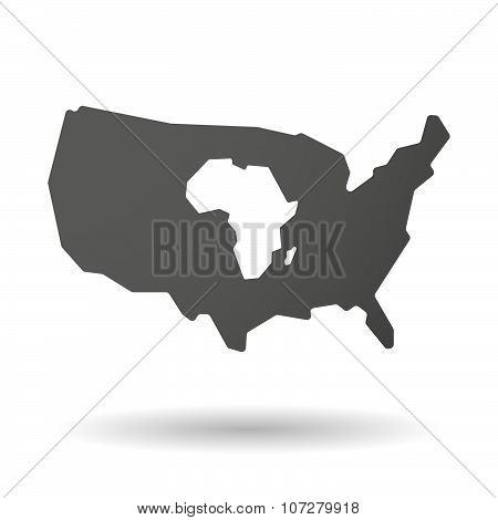 Isolated Usa Vector Map Icon With  A Map Of The African Continent