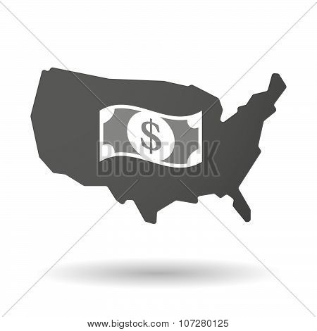 Isolated Usa Vector Map Icon With A Dollar Bank Note