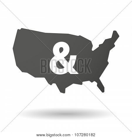 Isolated Usa Vector Map Icon With An Ampersand
