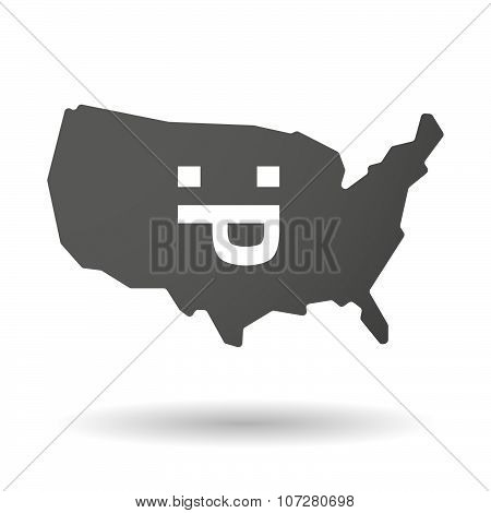 Isolated Usa Vector Map Icon With A Sticking Out Tongue Text Face