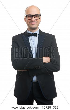 Bald Man In A Suit And Bow Tie
