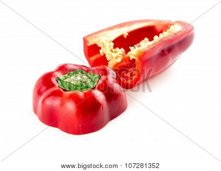 Fleshy Inside Of Tasty Vibrant Red Peppers