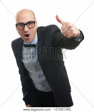 Funny Bald Man Showing His Thumb Up
