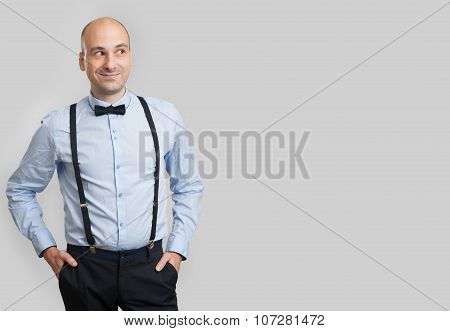 Bald Man Looking At Copy Space