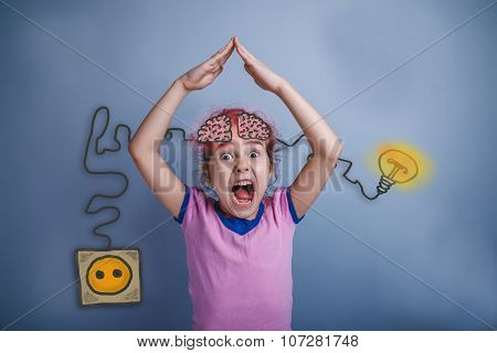 Girl folded her hands in the form of the roof and yelling opened