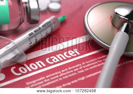 Colon cancer - Printed Diagnosis on Red Background.
