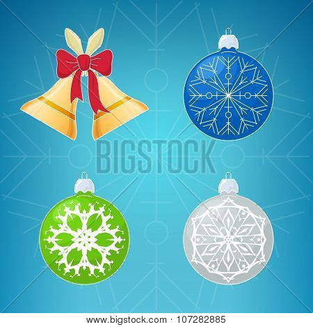 Merry Christmas Icons On Blue Background