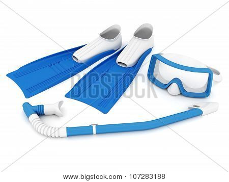 Flippers, Mask And Snorkel