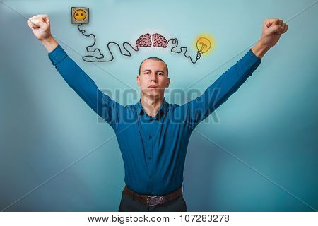 Male businessman raised his hands gesture of victory brain boost
