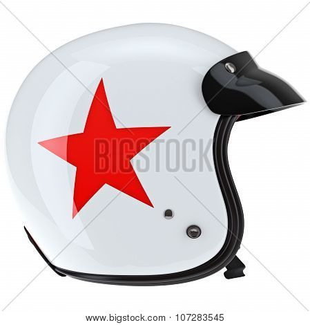 Protective sports helmet with visor side view