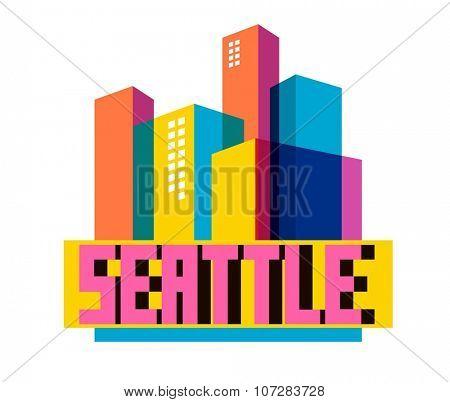 Seattle, great destination to visit, vector cartoon