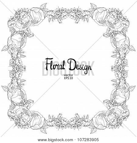 Floral black and white frame