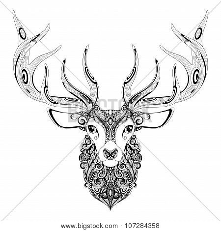 Vector Ornate Deer Horned Head
