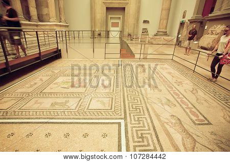 People Interested In Artifact Floor Of Private House Of Miletus With Roman Style Mosaic