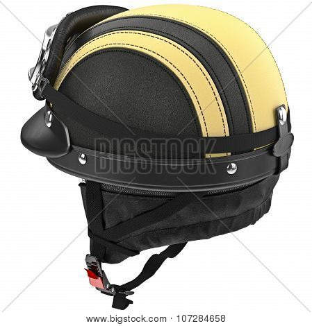 Leather protective ears for motorcycle helmet with goggles