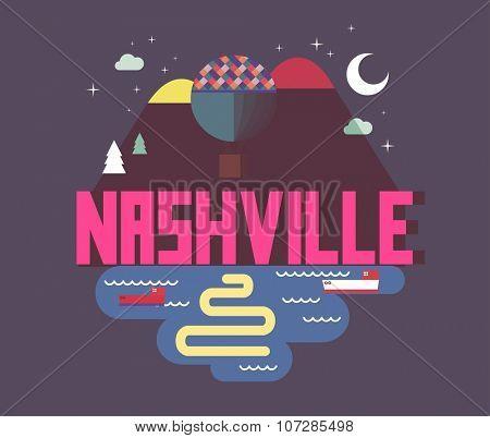 Nashville, Tennessee great destination to visit, vector cartoon
