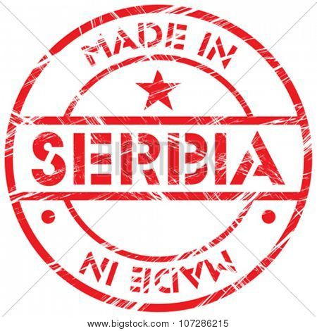 Made in Serbia grunge rubber stamp