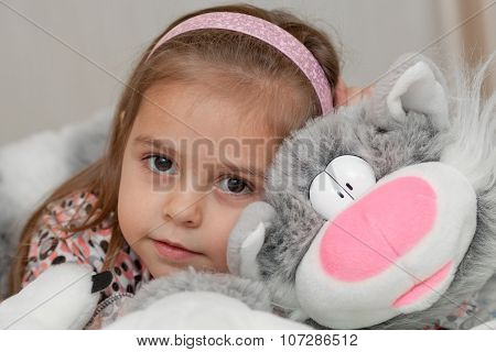 Girl With Cat Soft Toy