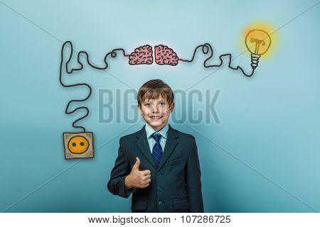 Teen boy businessman showing a sign of da charging cord plug wir