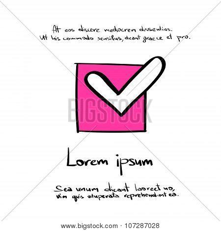 Check Box List Mark, Hand Draw Button Tick Sign Color Icon