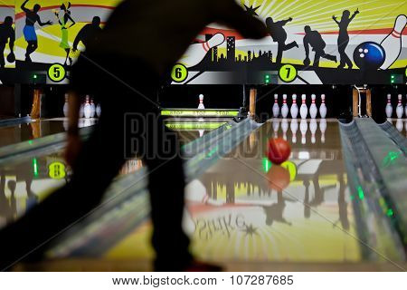 Bowling. Rolling To The Pins