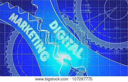 Digital Marketing on the Cogwheels. Blueprint Style.