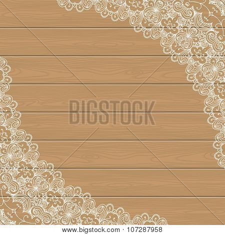 Wood Background With Lace Corners
