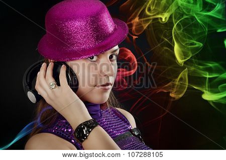 Hot Dancer With Hat And Setphones