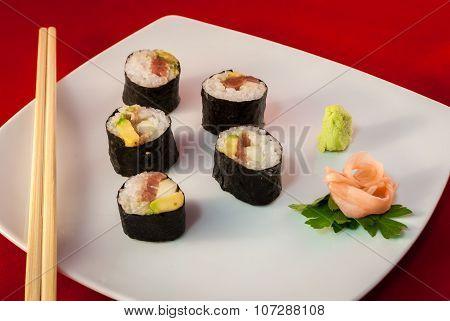 Sushi Bluefin Tuna Fish Maki with chopsticks