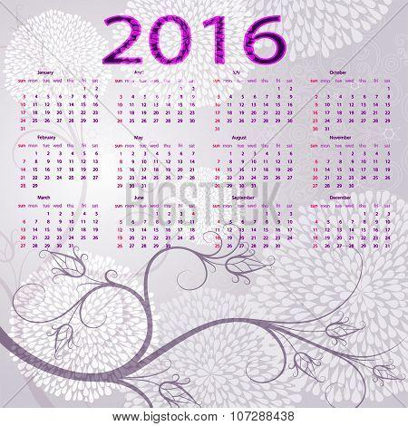 Floral Vintage Calendar For 2016