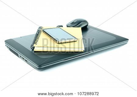 laptop and smartphone isolated on white background