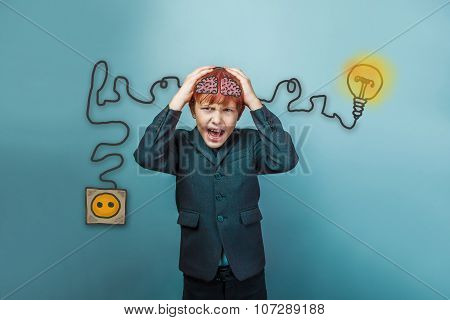Teen boy screaming businessman holding his head igniter charge c