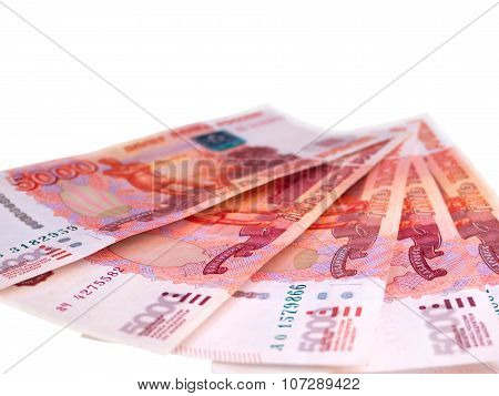 Russian Five Thousands Roubles Banknotes Isolated On White