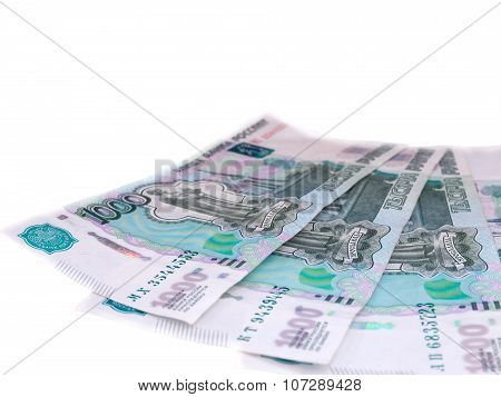 Russian One Thousand Roubles Banknotes Isolated On White