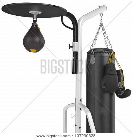 Set leather punching bag with gloves, close view