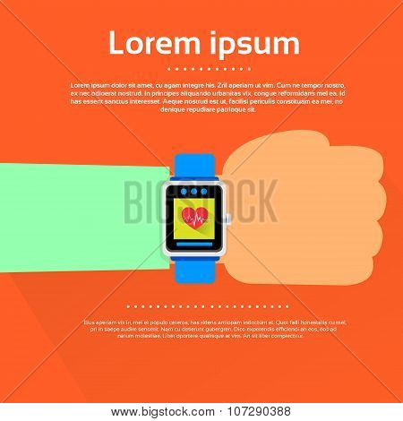 Hand Smart Watch Heart Pulse Monitor Icon Flat Vector