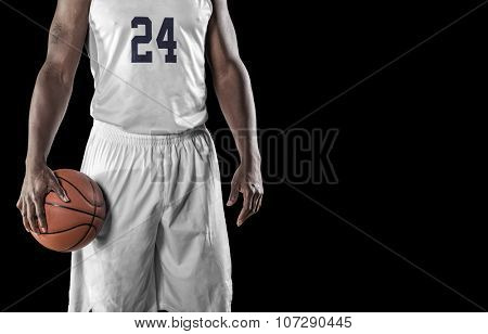 Close up view of Basketball Player on a black background