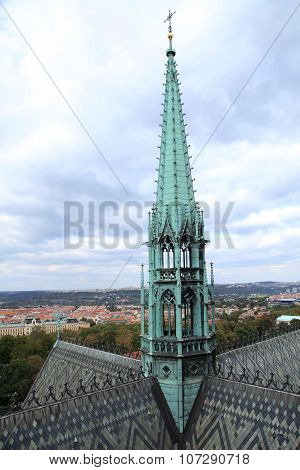 The Spire Of Tower Of St. Vitus Cathedral , Prague, Czech Republic