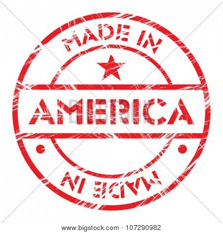 Made in America grunge rubber stamp