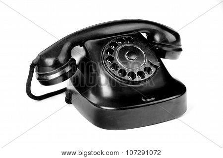 Black Retro-styled Phone Isolated On White