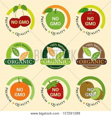 Gmo Free Non Gmo And Organic Guarantee Tag Label Emblem Sticker Strawberry Kiwifruit Orange Apple