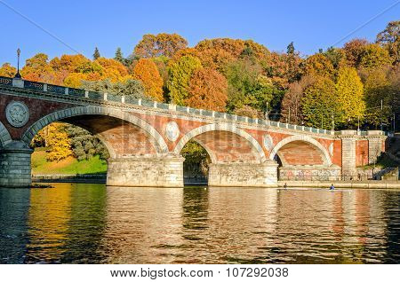 Turin (torino) Bridge Isabella And River Po In Autumn Colors
