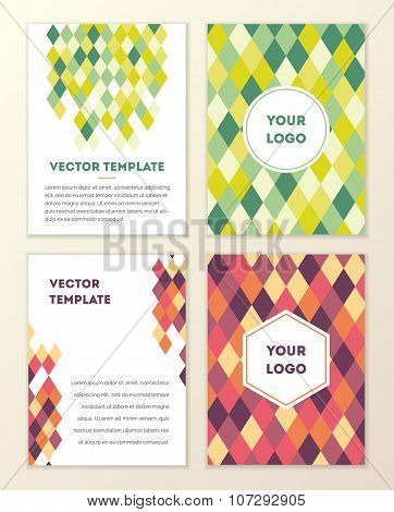 Vector Cover Template Design With Colorful Geometric Triangular Background.