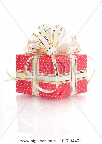 Gift With White Bow On A White Background.