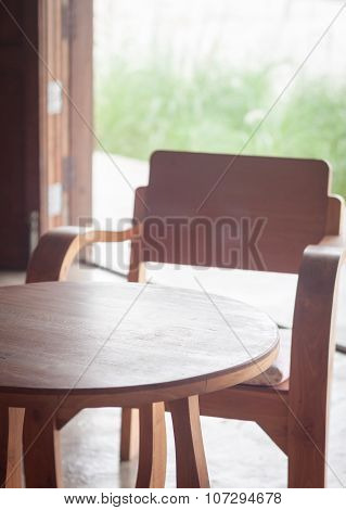 Wooden Table And Chairs In Coffee Shop