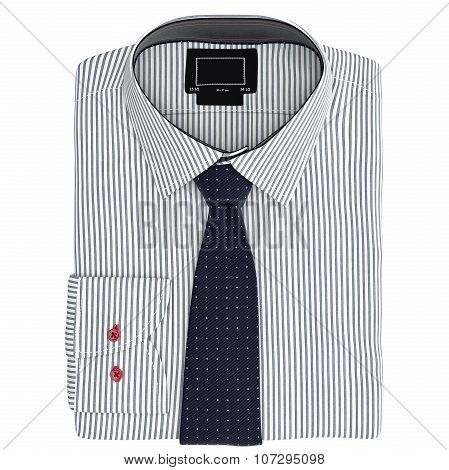Classic men's shirt and tie, top view