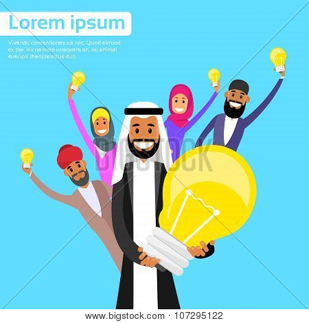 Business People Arab Team Group Idea Concept Hold Light Bulb Arabic
