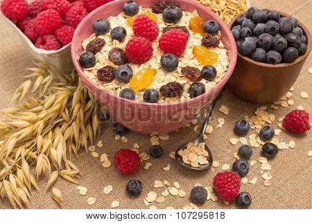 Healthy Porridge With Fruits On Canvas