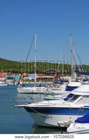 Yachts in Barbate marina.