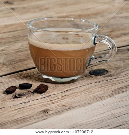 Coffee With Milk In A Cup Of Glass
